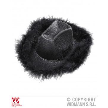 cowboyhoed lurex zwart met marabou