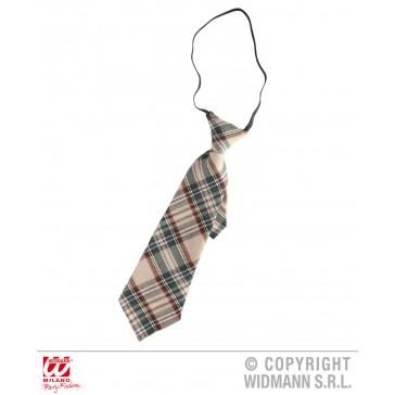 tartan print stropdas beige