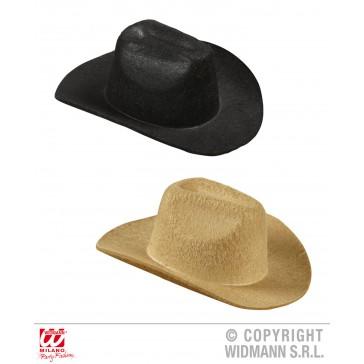 mini cowboy hoed zwart of beige