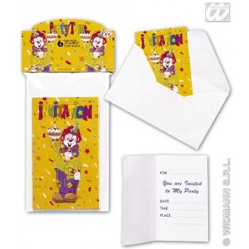 6 uitnodigingen clown met enveloppe