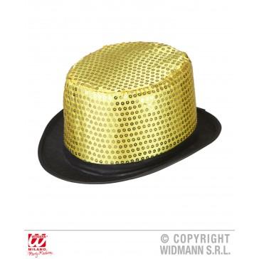 hoge hoed pailletten goud