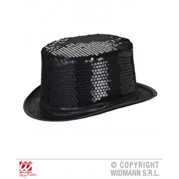 hoge hoed pailletten zwart