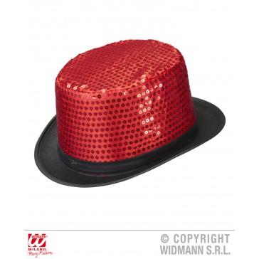 hoge hoed pailletten rood