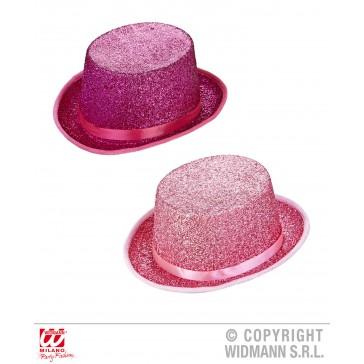 hoge hoed lurex zachtRoze of donkerRoze