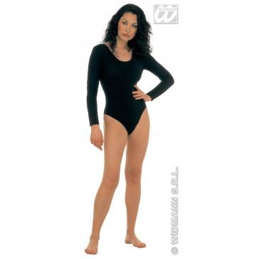 body dame, met mouwen, zwart