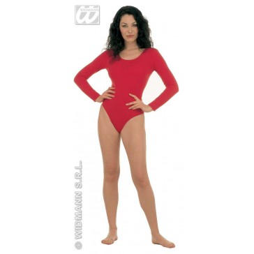 body dame, met mouwen, rood