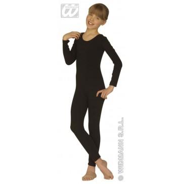 bodysuit meisje met mouwen, zwart