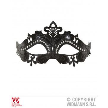 oogmasker venetie met stenen, zwart
