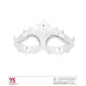 oogmasker venetie met stenen, wit