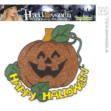 raamstickers happy halloween pompoen 25cm