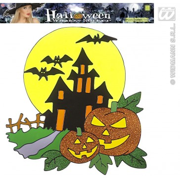 raamstickers haunted house pompoen 36cm