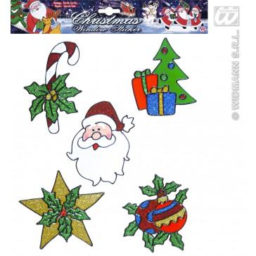 set van 5 kerst raam stickers met gezicht kerstman