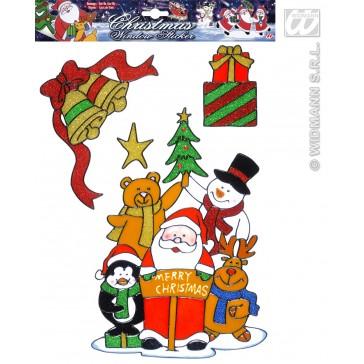 set van 12 kerst raam stickers met kerstman