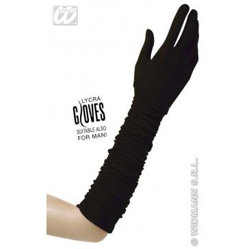 handschoenen plisse lycra, zwart