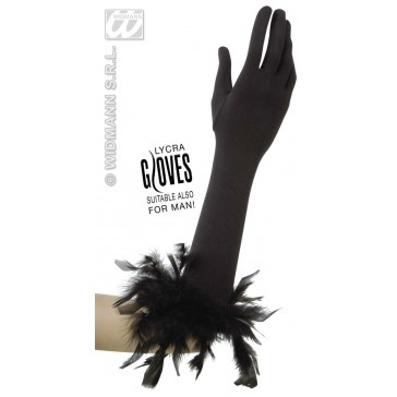 handschoenen met veren, zwart