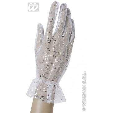 nethandschoenen met pailletten wit