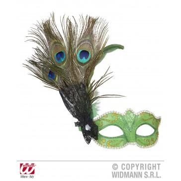 oogmasker licht groen met pauwveer