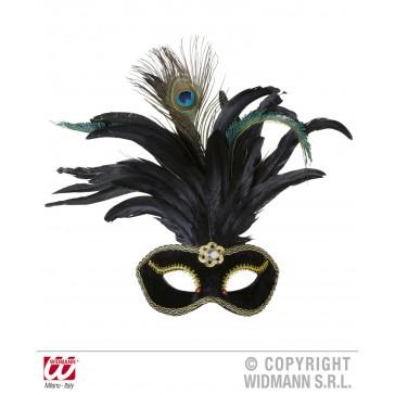 oogmasker velours zwart met steen en veren