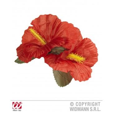 haarclip met 2x hibiscus rood