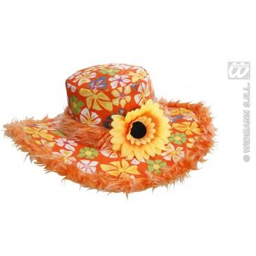hoed ibiza met zonnebloem, oranje