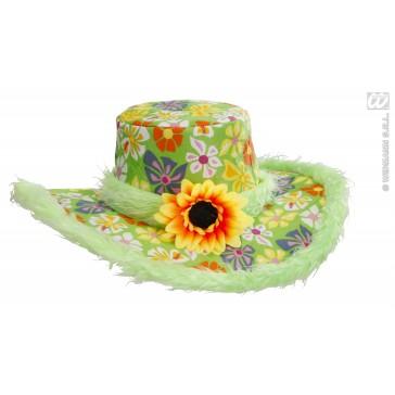 hoed ibiza met zonnebloem, groen