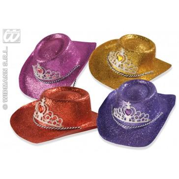 glitter cowboyhoed met tiara