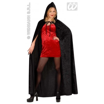 fluwelen lange zwarte cape (150cm)