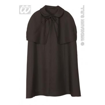 zware cape zwart met kraag, 100cm
