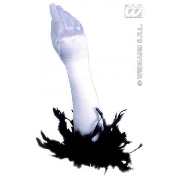 handschoenen satijn met veren, zwart of wit