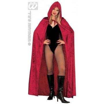 fluwelen cape met kap, burgundy 150cm