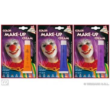 tube make-up, blauw - oranje - paars