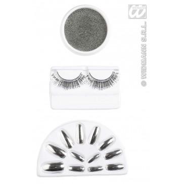 make-up set, zilver