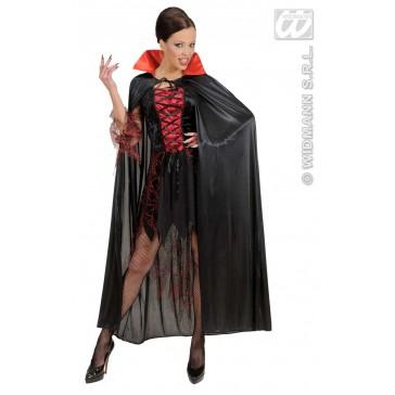 zwarte cape met rode kraag
