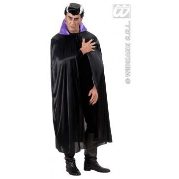 zwarte cape met paarse kraag