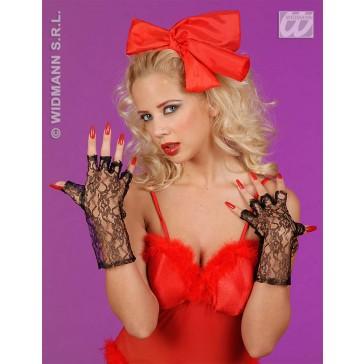 zwarte vingerloze handschoenen, 25cm