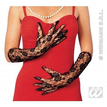 kanten handschoenen zwart, lang