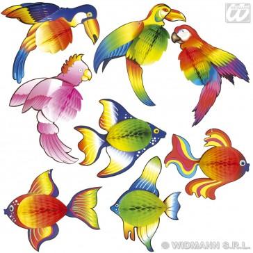 papieren decoratie tropische dieren