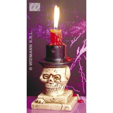 kaarsenstandaard, schedel met hoge hoed
