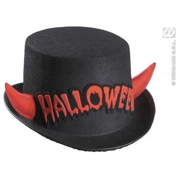 hoge hoed halloween met rood spiegelende hoorntjes