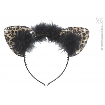 oren luipaard met strass steentjes en veren, bruin