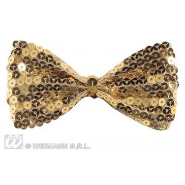 vlinderstrik pailletten goud