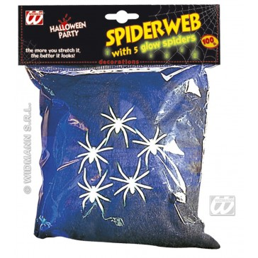 spinneweb zwart, 100gram met 5 spinnen