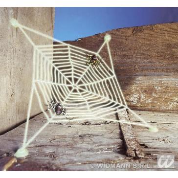 spinneweb met 2 spinnen, lichtgevend in donker