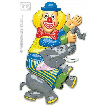 pvc 3d decoratie, clown op olifant