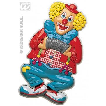 pvc 3d decoratie, clown met accordeon