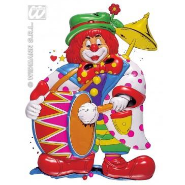 pvc 3d decoratie, clown met drum