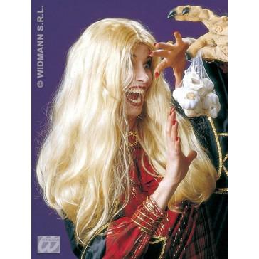 pruik, heks morgana blond (in plastic zak)