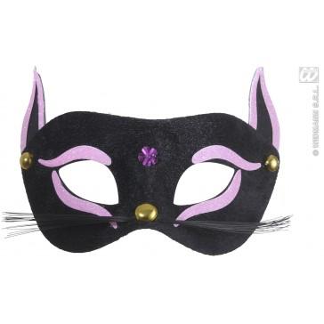 oogmasker, zwarte kat met rose glitter