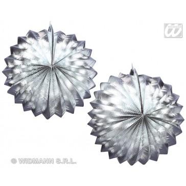 2 zilver metalic lampions, 25cm