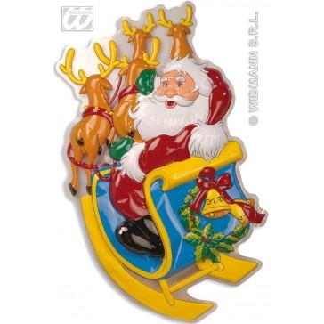 wanddecoratie kerstman met rendieren
